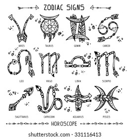 Set of hippie and bohemian style hand drawn zodiac signs. Black and white separated objects. Good for Tattoo.