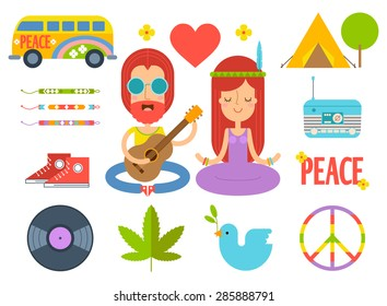 Set of hippie flat icons in vector.