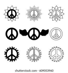 Set of hippie vintage peace symbols. Ornamental tie dye t-shirt print isolated on white background. Mandala round pattern. Hippy monochrome vector illustration. Retro 1960s, 60s, 70s.
