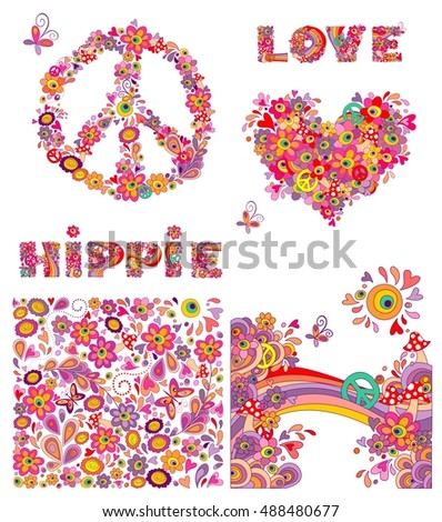 Set for hippie wallpaper with funny butterflies, colorful flowers and mushrooms, peace flowers symbol