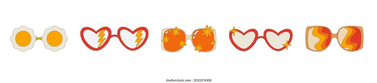 A set of hippie-style sunglasses. Glasses with a pattern, with flowers and lightning bolts in the style of the 70s. Retro glasses. Vector illustration isolated on a white background