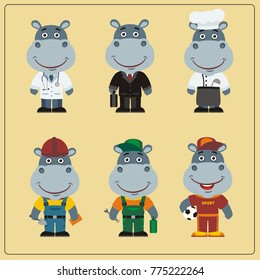 Collection Isolated Funny Muzzle Hippo Different Stock Vector