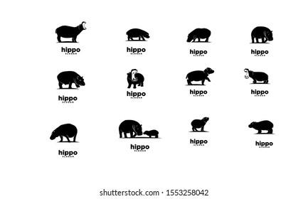 set of hippo logo icon design vector illustration