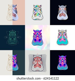 Set of hippo logos. Abstract design thin line icons, patches, badges, labels and stickers. Vector illustration.