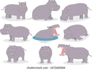 Set of hippopotamus cartoon character isolated on white background