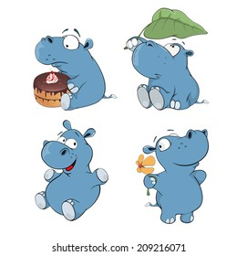 a set of hippopotamuses cartoon