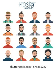 Set of hipster avatars. Avatar icons