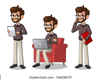 Set of hipster businessman cartoon character design working on gadgets, tablet, laptop computer, and mobile phone, isolated against white background.