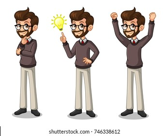 Set of hipster businessman cartoon character design get great idea inspiration light bulb, thinking thoughtful gesture, and celebrating victory winner successful success with raised up arms.