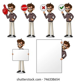 Set of hipster businessman cartoon character design holding a blank empty sign board banner billboard card poster, number one big foam hand finger, stop, right correct yes and wrong no signs.