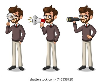 Set of hipster businessman cartoon character design, looking through binoculars, holding magnifying glass, and talking yelling shouting announcement with megaphone, isolated against white background.