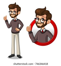 Set of hipster businessman cartoon character design, inside the circle logo concept with showing like, ok, good job, satisfied sign gesture with his thumbs up, isolated against white background.