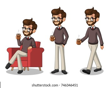 Set of hipster businessman cartoon character design making a break relaxing with holding drinking a coffee tea, isolated against white background.
