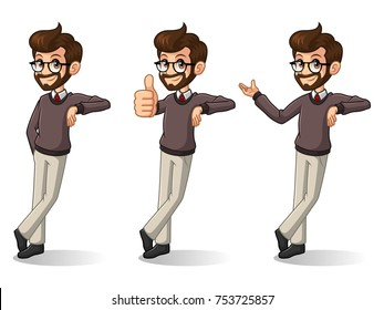 Set of hipster businessman leaning against cartoon character design, isolated against white background.