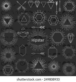 Set of hipster elements. Collection sunburst. Black and white. Pattern vintage mustache