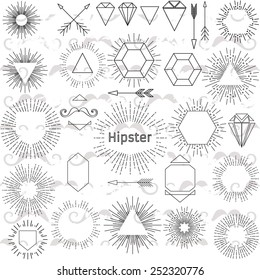 Set of hipster elements. Collection sunburst. Black and white. P