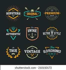 Set of hipster emblems, badges and design elements. Cool old fashioned labels for retro styled design.