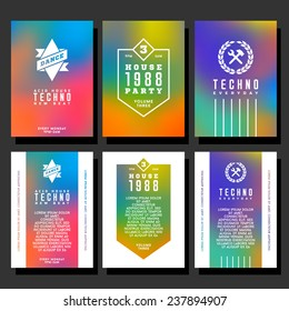 set hipster geometric typography gradient retro club flyer for party. poster with ribbon , hammer , spanner , garland