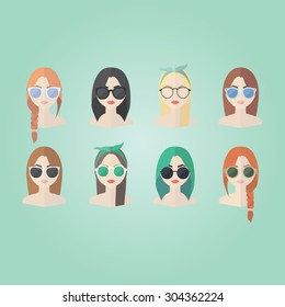 Set of hipster girls and geek glasses  flat icons. Stylish hipster girls in modern and creative style. Website avatar symbols. Woman web media element collection.