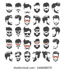 set of hipster head people logo for your business and barber shop - vector