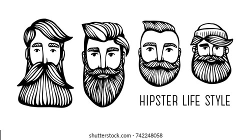 Set Hipster heads with beards. Hand-Drawn Doodle. Vector Illustration - stock vector. Hand drawn cartoon character. Bearded man