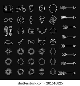 Set of hipster icons. Arrows and sunburst