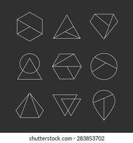 Set of hipster icons, geometric logo