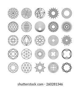 Set of hipster line round emblems. Vector illustration.
