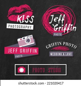 Set of hipster logos for photographer on chalkboard background