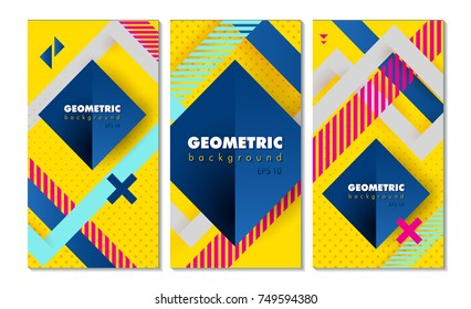 Set of hipster modern geometric abstract background. Bright yellow banner with blue stripes stripes, textured background. Business template for a bright color. Realistic stripes background.