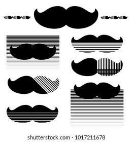 Set of hipster mustache. Trendy halftone print. Vector illustration.