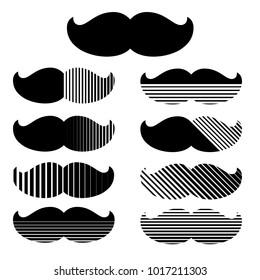 Set of hipster mustache. Trendy print. Vector.