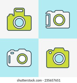 Set of Hipster photo camera line icons