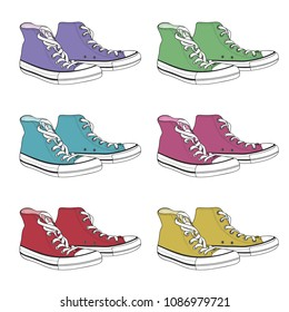 Set of hipster sneakers, converse all star shoes with purple, green, blue, pink, red and yellow color. Vector illustration.