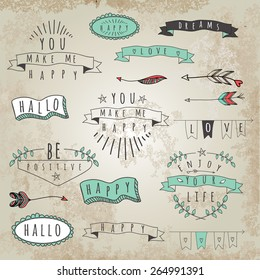 Set of hipster style words and phrases. Word collage