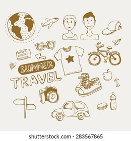 set for hipster travel vector hand drawn icons
