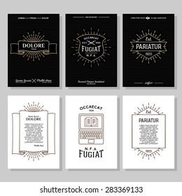 set hipster typography monochrome vintage label, flyer or poster with crest, logo, star burst, ribbon, shield, sword, laptop