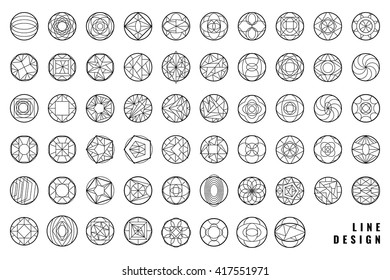 Set of hipster vector geometric shapes. Circular abstract. Shapes made using line, triangles, circles, and other polygons. You can use it for design icons, logos.