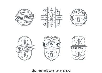 Set of Hipster Vintage beer labels, logotypes, badges for Your business.
