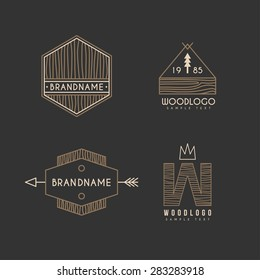Set of Hipster Vintage Labels or Logotypes with Wooden Texture