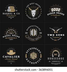 Set of Hipster Vintage Labels, Logotypes, Badges for Your Business. Wild West Theme. Barrel, Scull, Cards, Wheel, Saloon, Gun, Hat, Sheriff. Vector Illustration on Dark Textured Background