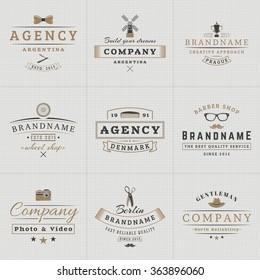 Set of Hipster Vintage Labels, Logotypes, Badges for Your Business. Bow-tie, Windmill, Barber, Camera, Scissors, Hat. Vector Illustration