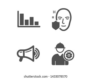 Set of Histogram, Face protection and Megaphone icons. Engineer sign. Economic trend, Secure access, Advertisement. Worker with cogwheel.  Classic design histogram icon. Flat design. Vector
