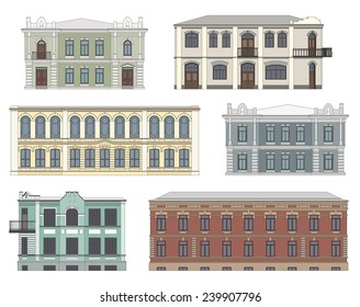 Set of historical building facades highly detailed, real, colored, isolated on white background