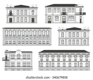 Set of historical building facades highly detailed, real, colored, isolated on white background.