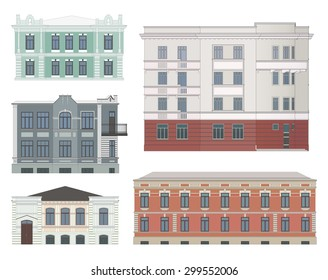 Set of historical buildings facades highly detailed, real, colored, isolated.