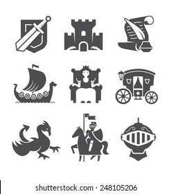 Set of historical icons: knight, queen, castle, dragon, armor, scroll and so on. Black and white icons isolated on white background.