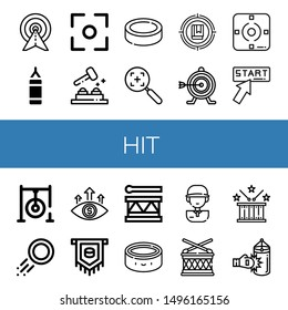 Set of hit icons such as Target, Punching bag, Focus, Whack a mole, Puck, Click, Darts target, Drum, Golf player , hit