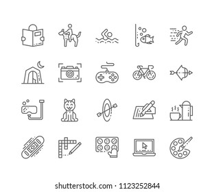 Set of Hobbies outline icons isolated on white background. Editable Stroke. 64x64 Pixel Perfect.