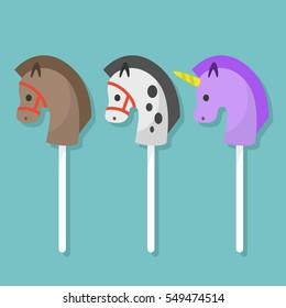 Set of hobbyhorse toys / flat editable vector illustration, clip art